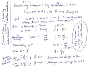 "Back of the napkin ""proof"" of why Engineers will always earn less than managers"
