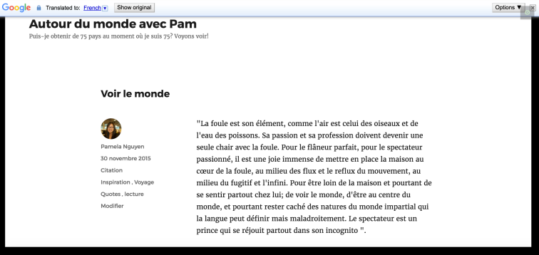 The blog post above, automatically translated into French with the Google Translate Widget.